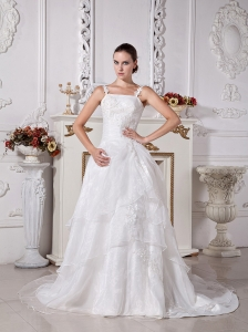 Custom Made Spaghetti Straps Princess Wedding Dress With Appliques Decorate Organza