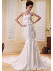Customize Mermaid Appliqes and Sash Wedding Dress Strapless In 2013