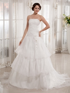 Cute Ruffled Layered A-line Wedding Dress Court Train Ruch