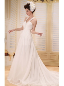 Elegant Beaded Decorate Straps V-neck Wedding Dress With Chapel Train Chiffon For Custom Made