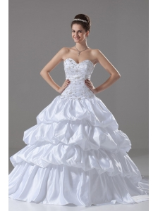 Embroidery and Beading Sweetheart Ball Gown Taffeta Garden / Outdoor Court Train Wedding Dress