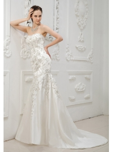 Embroidery With Beading Decorate Bodice Mermaid Brush Train Sweetheart Neckline 2013 Wedding Dress