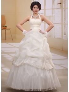 Halter Pick-ups Appliques 2013 Wedding Gowns With Ruch Organza