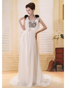 Hand Made Flowers Beading Sequin and Chiffon Brush Train Popular Style 2013 Wedding Dress Scoop