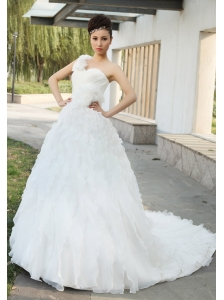 Hand Made Flowers With Beading Decorate Bodice Ruffles One Shoulder Court Train 2013 Wedding Dress