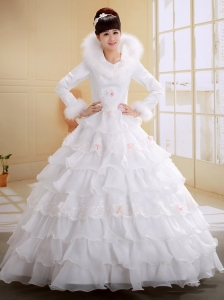 Imitated Feather and Ruffled Layers Decorate Wedding Dress With Long Sleeves High-neck