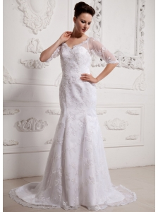 Luxurious V-neck Long Sleeves Mermaid 2013 Wedding Dress