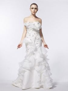 Mermaid / Trumpet Beading Strapless Brush / Sweep Organza 2013 Wedding Dress