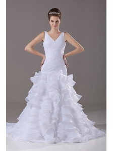 Mermaid / Trumpet Ruched V-Neck Court Train Organza 2013 Wedding Dress