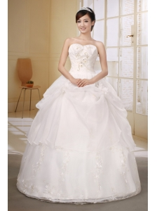 Organza White Custom Made Wedding Dress With Embroidery Decorate