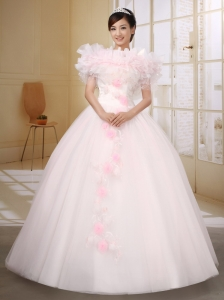 Pink Wedding Dress With Off The Shoulder Neckline Appliques and Beaded Decorate On Organza Ball Gown