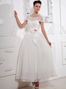 Popular Scoop Short Sleeves Wedding Dress With Sash and Lace