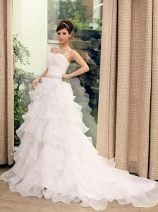 Princess Sweetheart Neckline Wedding Dress With Beaded Decorate Waist Brush Train