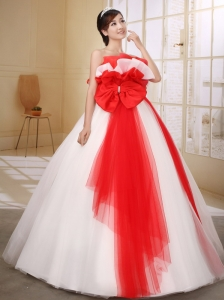 Red and White Bow Decorate On Organza Wedding Dress With Strapless Neckline Ball Gown Floor-length