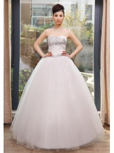 Rhinestones Decorate Bust and Waist Sweetheart Neckline Floor-length Tulle Wedding Dress For 2013