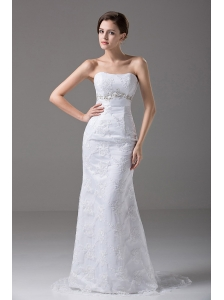 Sexy Beading Strapless Tulle Column / Sheath Garden / Outdoor Wedding Dress Brush / Sweep