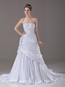 Strapless Beading A-Line / Princess Court Train Taffeta 2013 Wedding Dress