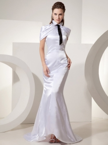 Unique Mermaid Fold-over Collar With Black Tie Wedding Dress Court Train For Custom Made