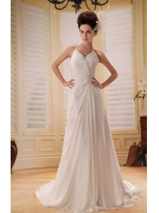 V-neck Empire Beaded Court Train Chiffon Backless Wedding Gowns For 2013 Custom Made