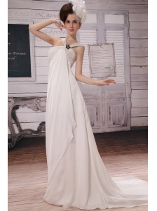 White Popular Empire Straps 2013 Wedding Dress With Beading