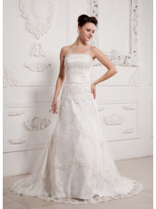 Wholesale A-line Sash Wedding Dress With Lace Court Train