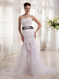 Wholesale Column Sweetheart Belt Wedding  Dress With Lace Tulle