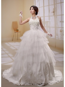 2013 Halter Ruffled Layeres Applqiues Decorate Wededing Dress With Lace