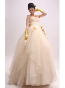 Ball Gown Prom Dress With Hand Made Flowers and Beaded Decorate Waist