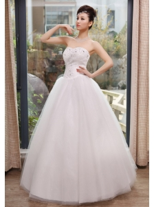 Beaded Decorate Bust Sweetheart Neckline A-line Floor-length Tulle 2013 Wedding Dress