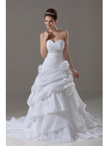 Beaded Decorate Waist Sweetheart Taffeta A-Line / Princess Popular Court Train Wedding Dress
