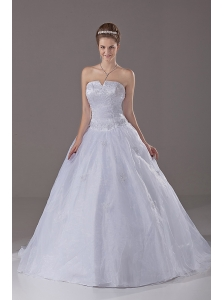 Beading A-Line / Princess Organza Strapless Brush / Sweep Wedding Dress Zipper-up
