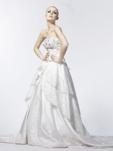 Beading and Lace Sweetheart A-Line / Princess Taffeta 2013 Wedding Dress