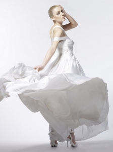 Beading Empire One Shoulder Stylish Chiffon Brush / Sweep Wedding Dress
