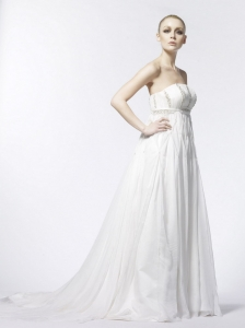 Beading Empire Strapless Organza Brush / Sweep Affordable Wedding Dress