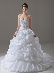 Beading Sweetheart Taffeta A-Line / Princess 2013 Wedding Dress Court Train
