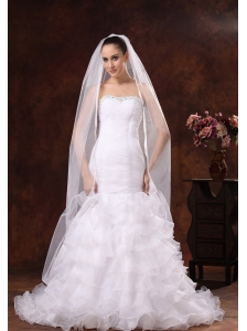 Classical White Organza Veil For Wedding