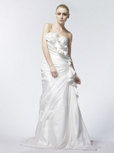 Column / Sheath Ruched Strapless Taffeta 2013 Wedding Dress Brush / Sweep