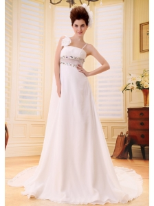 Custom Made Beaded Wedding Dress With Spaghetti Straps Watteat Train Chiffon
