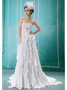Custom Made Strapless Column Ruffles 2013 Best Wedding Dress With Beading and Ruch