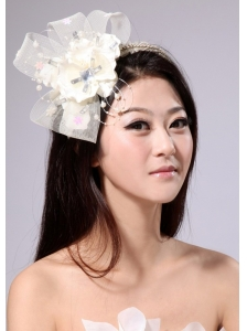 Cute White Tulle Fascinators With Beading And Ribbons