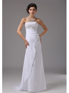 Embroidery Decorate Up Bodice Strapless Brush Train Chiffon 2013 Wedding Dress