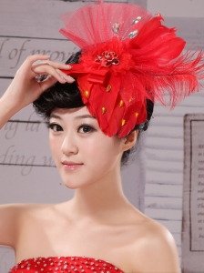 Fascinators Chiffon and Net Red Outdoor and Special Occasion