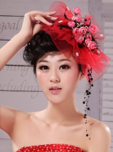 Fascinators Tulle Hand Made Flowers Outdoor and Special Occasion Red