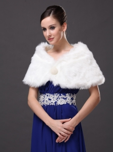 Gorgeous Rabbit Fur Special Occasion / Wedding Shawl In Ivory With V-neck
