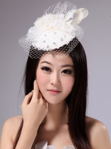 White Pure Fascinators With Net Beading For Party