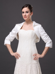 Hot Selling White Satin 3/4 Sleeves Jacket