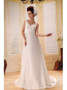 Ivory Backless V-neck Beaded Decorate Taffeta On Taffeta Wedding Dress