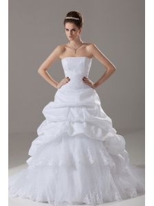 Lace A-Line Strapless Fashionable Court Train Wedding Dress Taffeta