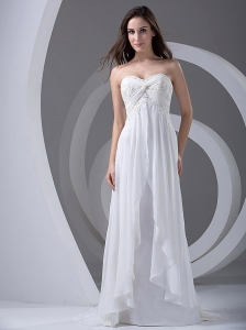 Lace and Beading Sweetheart Brush / Sweep Chiffon 2013 Wedding Dress Empire