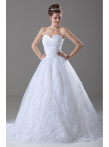 Lace Sweetheart Organza A-Line Court Train Hall Wedding Dress
